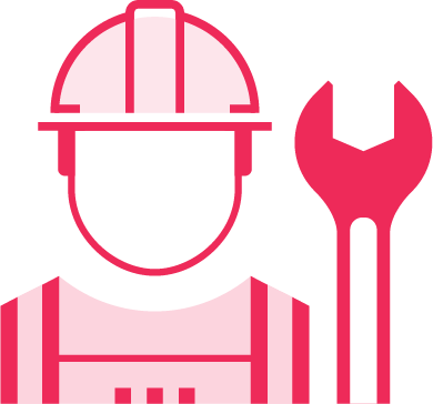 MIMS field service Management icon with worker and wrench for technical services and speed response and task completion